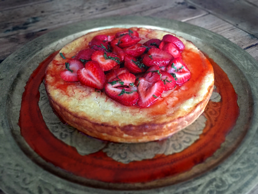 Ricotta Torte with strawberries, honey and mint