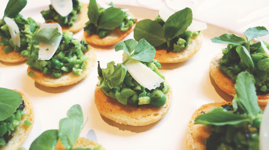 Crushed peas and mint on parmesan shortbread