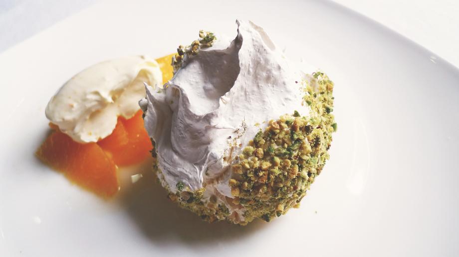 Pistachio meringue with orange salad and clementine creme friache