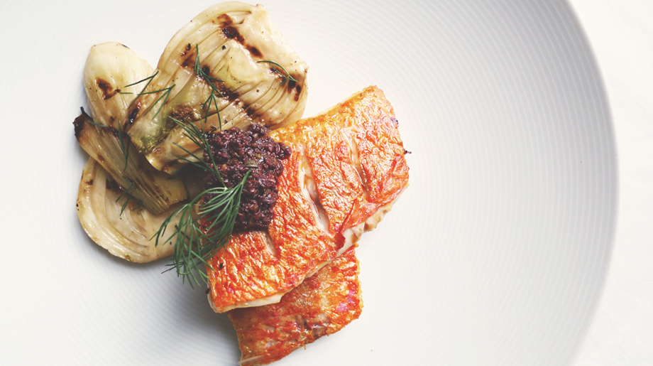Pan fired red mullet, grilled fennel and black olive tapenade